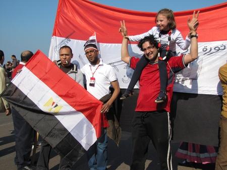 resignation: Alexandria, Egypt - February 18, 2011 - Demonstrators celebrating the resignation of President Mubarak Editorial