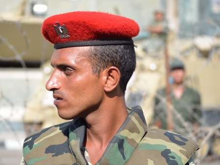 Alexandria, Egypt - September 9, 2011 - Egyptian army personnel guarding army facility in the face of demonstrations