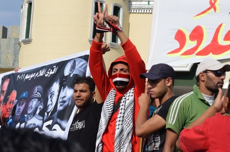 martial law: Alexandria, Egypt - Sep 30, 2011 - Egyptian demonstrators protesting the martial law and slow pace of reform