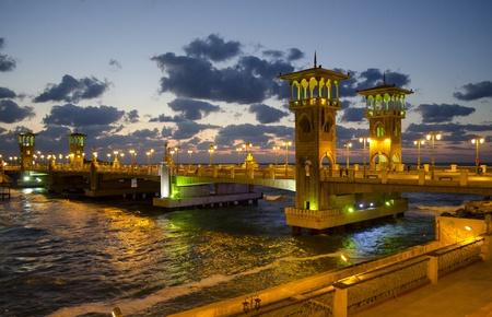 alexandria egypt: Stanley bridge at sunset, Alexandria Egypt  Stock Photo