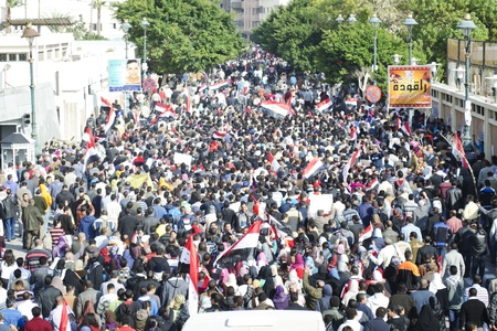 Alexandria, Egypt - Nov 25, 2011 - Egyptian demonstrators calling for the stepping down of the Army's Supreme Council Stock Photo - 11305607