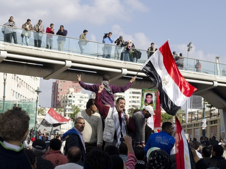 Alexandria, Egypt - Nov 25, 2011 - Egyptian demonstrators calling for the stepping down of the Army's Supreme Council