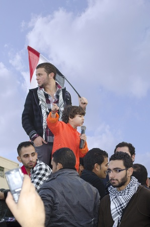 Alexandria, Egypt - Nov 25, 2011 - Egyptians demonstrating against military rule
