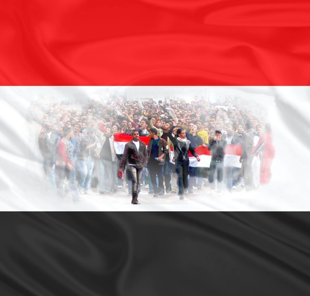 Collage of Egyptian demonstrators on a background of Egyptian flag