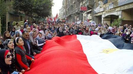 Alexandria, Egypt - Dec 23, 2011 - Egyptian demonstrators protesting the army