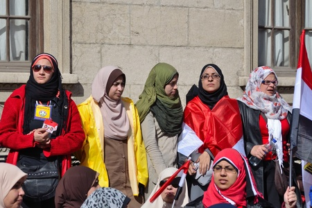 egypt revolution: Alexandria, Egypt - Nov 25, 2011 - Egyptian women demonstrating on the occasion of the first anniversary of the January 25th revolution