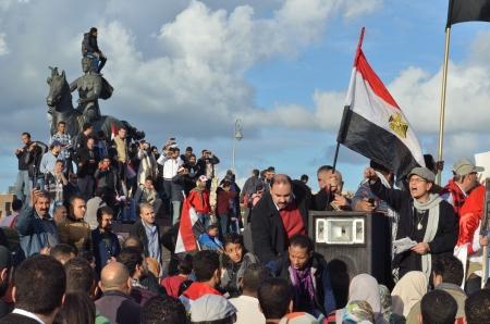Alexandria, Egypt - December 7, 2012 -Demonstrations against President Morsi Stock Photo - 16870080