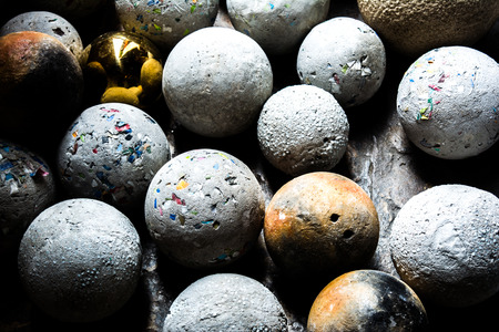 balls of natural mineral gemstones with shade and shadow