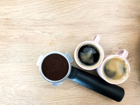 Top view of hot espresso double shot 版權商用圖片