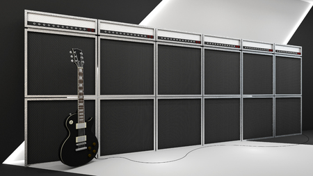 3d render of rock and roll style and amplifier Archivio Fotografico - 123657537