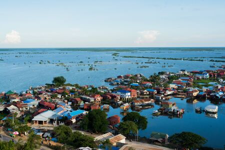 Floating Village at Tonle Sap has a boat transport, Siem Reap, Cambodia