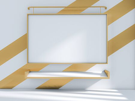 3d render of classroom and whiteboard on the gold wall, mock up classroom