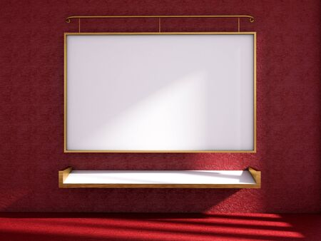 3d render of classroom and whiteboard on the red wall, mock up classroom Stock Photo