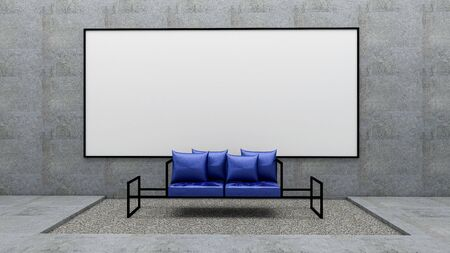 3d render of living room and whiteboard on raw concrete wall, mock up living room Zdjęcie Seryjne