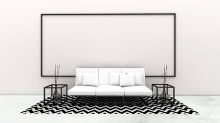 3d render of living room and whiteboard on the wall, mock up living room Zdjęcie Seryjne