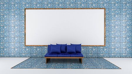 3d render of living room and whiteboard on tile wall, mock up living room
