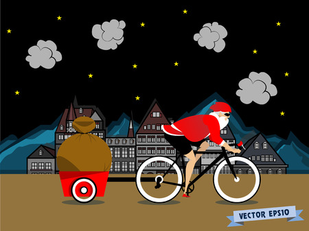 santa claus cycling on down town road 向量圖像