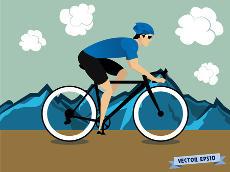 cycle race: cycling on the mountain