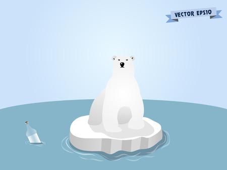얼음에 북극곰 일러스트