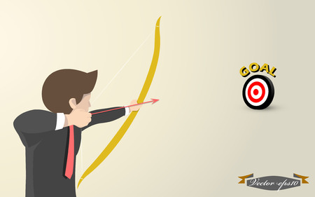 business man aim to goal concept