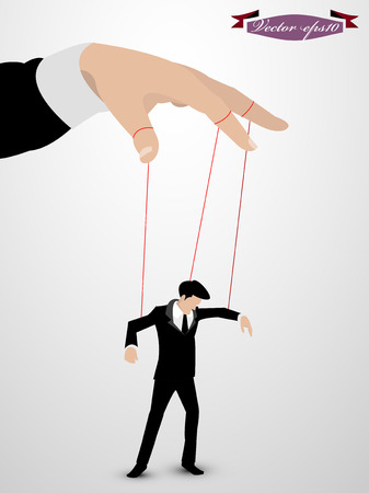 marionette: man as a marionette controlled vector Illustration