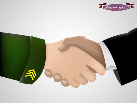 overthrow: shake hand between military guy and business man Illustration