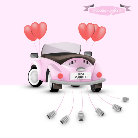 just: just married back car concept Illustration