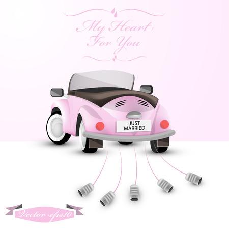 just married back car concept Illustration