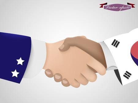 asian business meeting: shake hand between amarican guy and korean guy