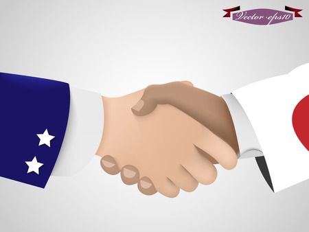 asian business meeting: shake hand between amarican guy and Japanese guy Illustration