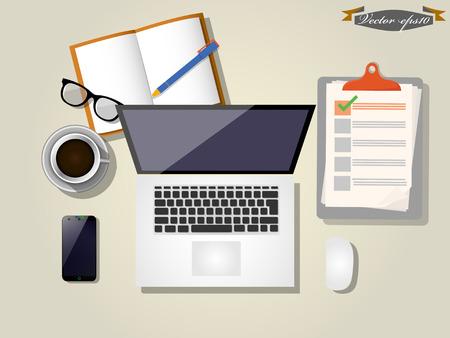 desk vector  イラスト・ベクター素材