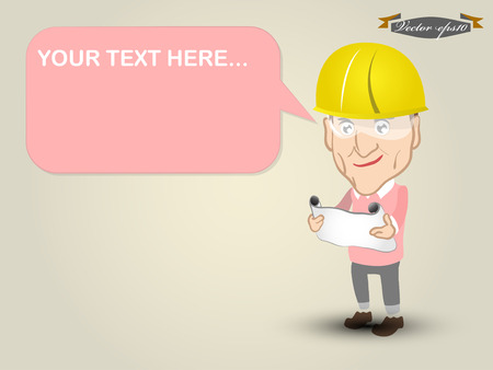 your text here: vector of engineer and your text here box Illustration