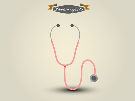listening to heartbeat: vector of stethoscope