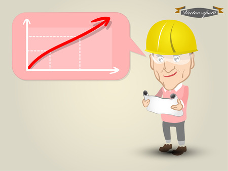 drawing safety: engineer and his target grow Illustration