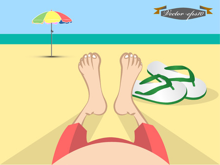 beach scene: man laying on the beach scene Illustration