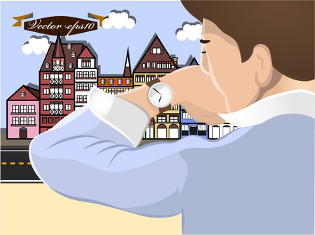 instrument of time: man watching watch in city vector Illustration