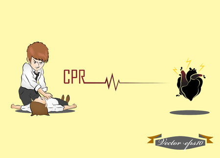 man perform CPR Illustration