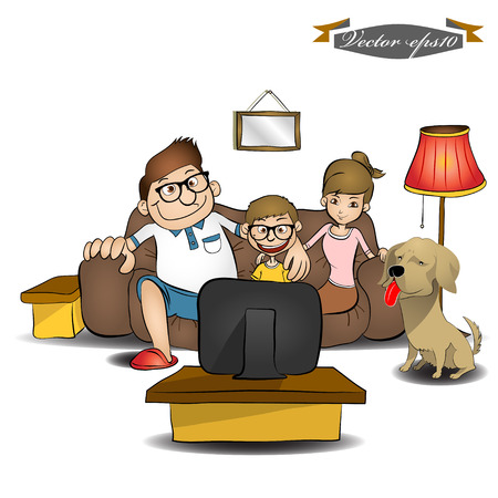 family sofa: family watching TV