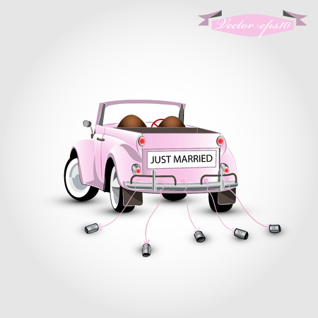 newlywed couple: just married concept Illustration