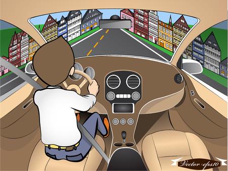 carro caricatura: el hombre que conduce el coche en la ciudad Vectores