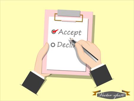 accepter: accepter ou de refuser la liste vecteur de ch�que