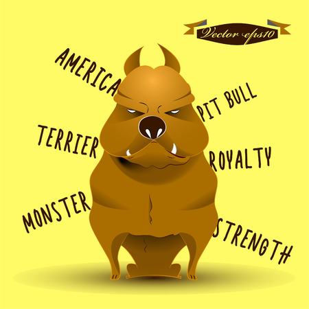 kampfhund: american pit bull terrier Hund Cartoon-Vektor