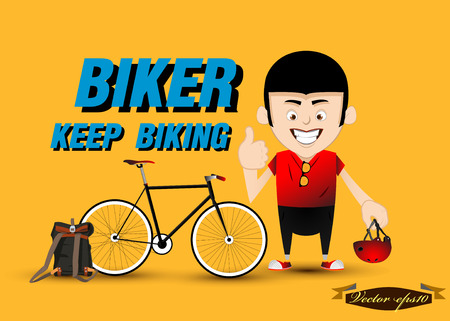 pedaling: biker and his bicycle vector Illustration