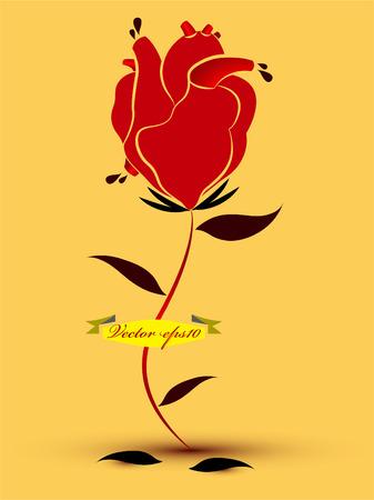 roses and blood: heart rose design Illustration