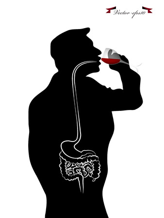 respiratory infection: inside of human body drinking wine