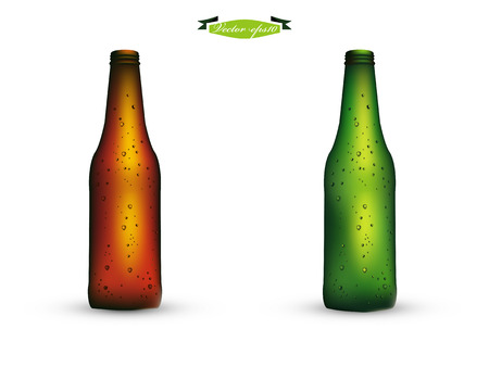amber light: bottle of beer vector