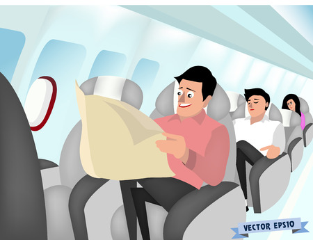 passenger airline: airplane interior vector Illustration