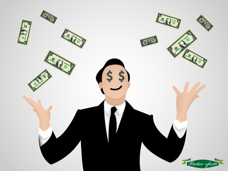 wealth concept: business man throw money vector