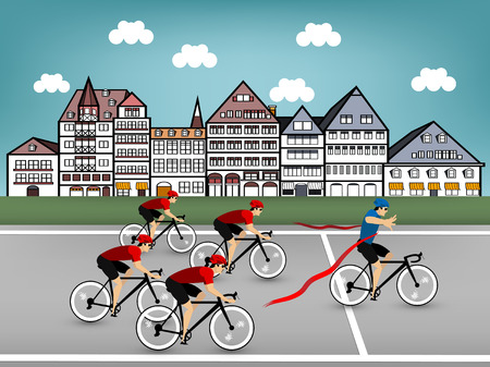 cycling race: cycling race in town Illustration