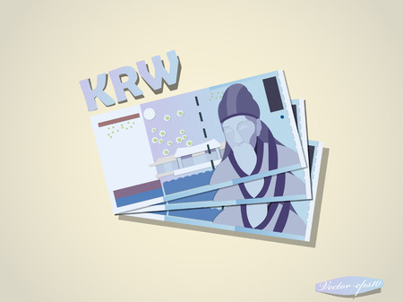 south korean won money paper vector design Illustration
